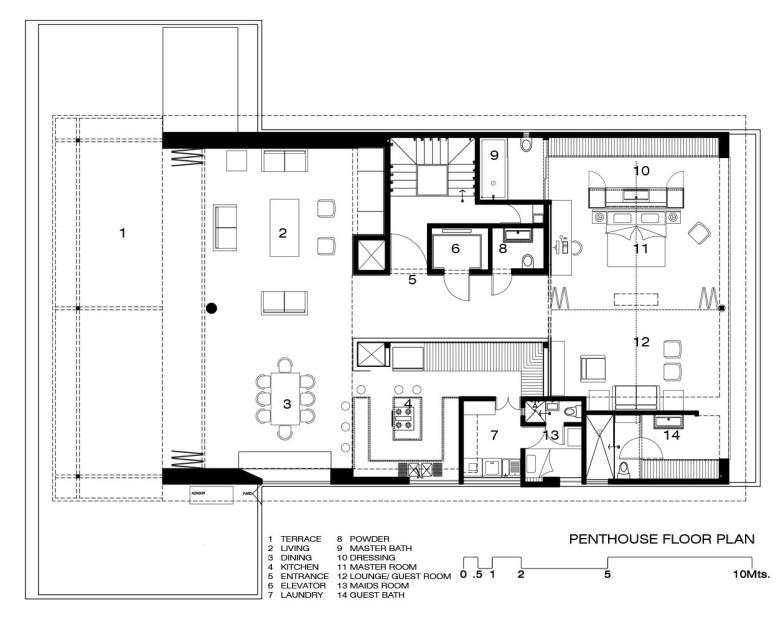 Luxurious Penthouse by Hernandez Silva Arquitectos