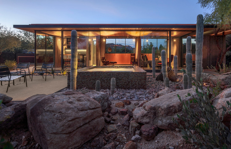 Modern glass and steel guest house