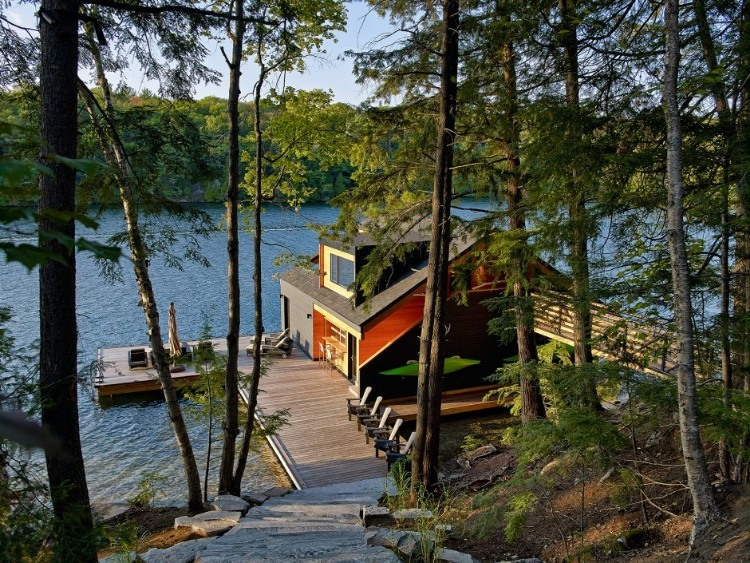 Wooden boathouse on the shore of Lake Joseph, New York
