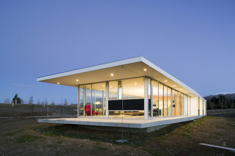Modern glass house in New Zealand