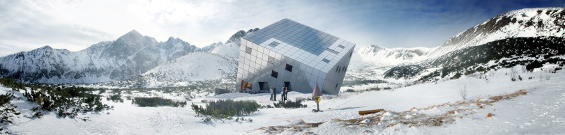 Futuristic Cuboidal Mountain Hut by Atelier 8000