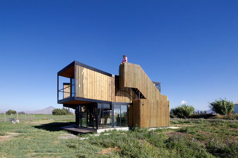 Sustainable house builded with  recycled materials