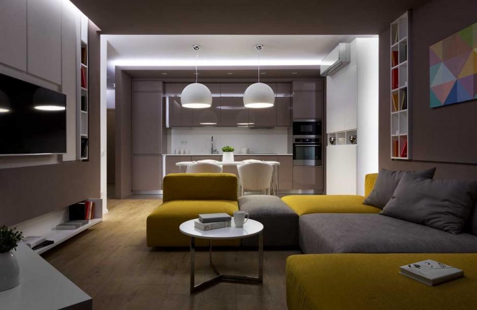 the moon box apartment by denis rakaev homedezen. Black Bedroom Furniture Sets. Home Design Ideas